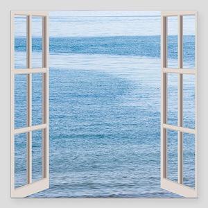 """Ocean Scene Window Square Car Magnet 3"""" x 3"""""""