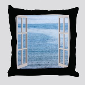 Ocean Scene Window Throw Pillow