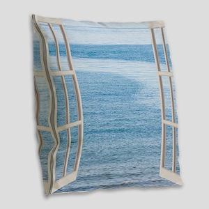 Ocean Scene Window Burlap Throw Pillow