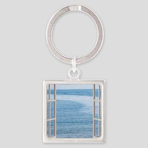 Ocean Scene Window Square Keychain