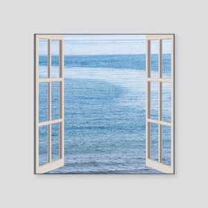 "Ocean Scene Window Square Sticker 3"" x 3"""