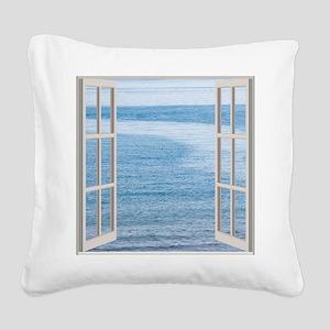 Ocean Scene Window Square Canvas Pillow