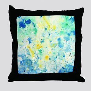 Abstract Watercolor Green and blue Pa Throw Pillow