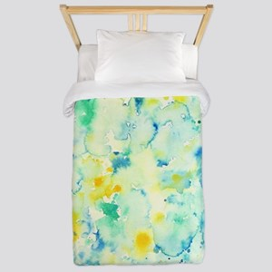 Abstract Watercolor Green and blue Patt Twin Duvet
