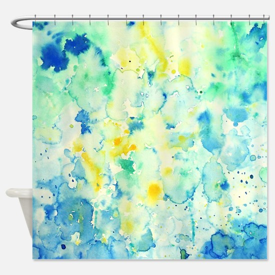 teal and yellow shower curtain. Abstract Watercolor Green and blue Shower Curtain Yellow Curtains  CafePress