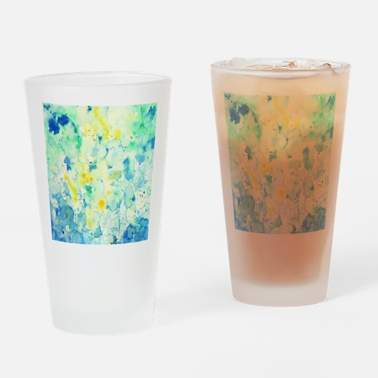 Abstract Watercolor Green and blue  Drinking Glass