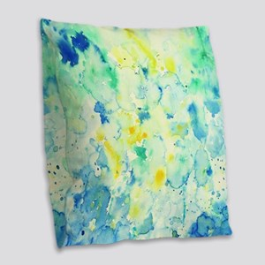 Abstract Watercolor Green and  Burlap Throw Pillow