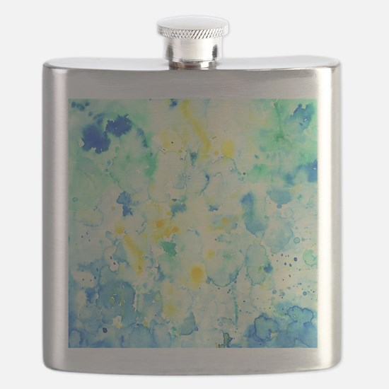 Abstract Watercolor Green and blue Pattern Flask