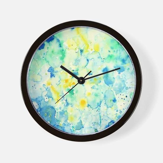Abstract Watercolor Green and blue Patt Wall Clock