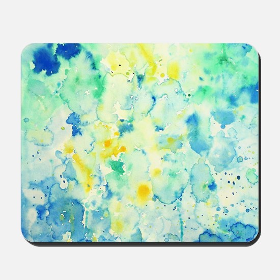 Abstract Watercolor Green and blue Patte Mousepad