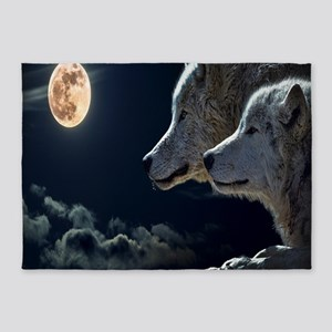 Full Moon Wolves 5'x7'Area Rug
