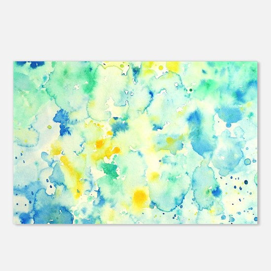 Abstract Watercolor Green Postcards (Package of 8)