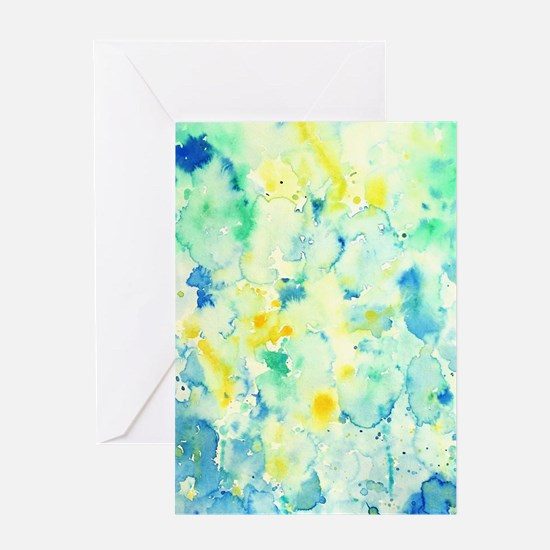Abstract Watercolor Green and blue Greeting Cards
