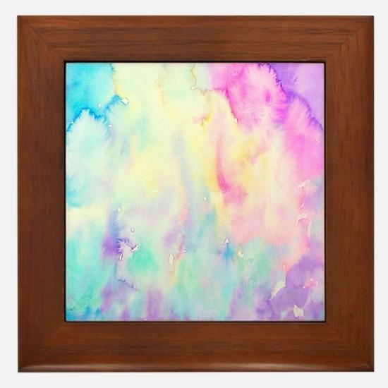 Watercolor Abstract Landscape Framed Tile