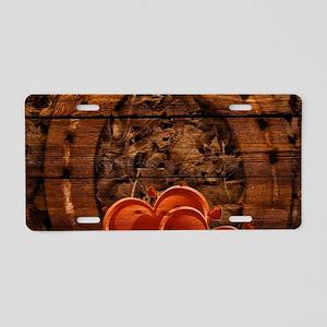 rustic barn wood horseshoe Aluminum License Plate