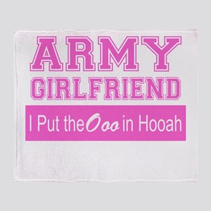 Army Girlfriend Ooo in Hooah_Pink Throw Blanket