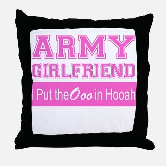 Army Girlfriend Ooo in Hooah_Pink Throw Pillow
