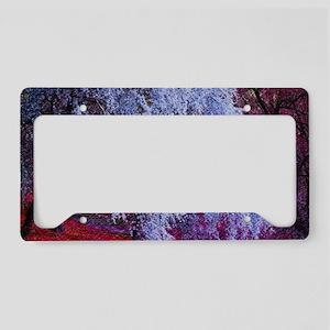 landscape purple cherry bloss License Plate Holder