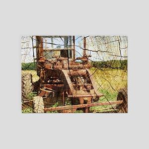rustic farm old tractor 5'x7'Area Rug