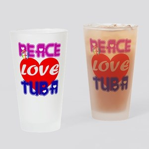 Peace Love Tuba Drinking Glass
