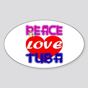 Peace Love Tuba Sticker (Oval)