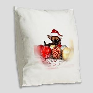 chihuahua christmas Burlap Throw Pillow