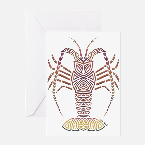 Tribal Caribbean Lobster Greeting Cards