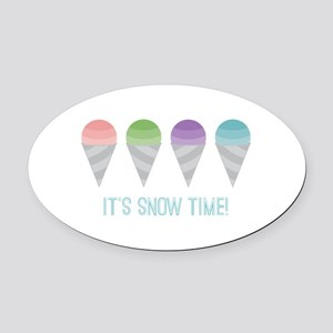 Snow Time Oval Car Magnet