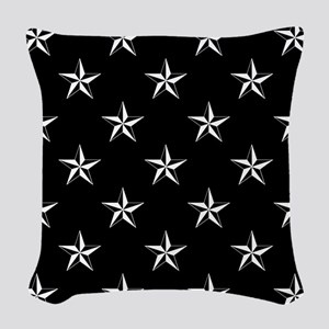 Star Pattern Black Woven Throw Pillow