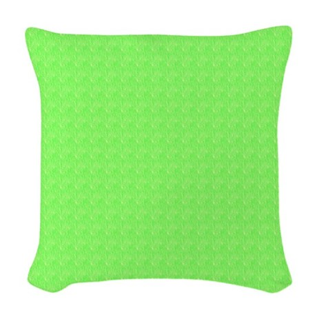 Plain lime Green Woven Throw Pillow