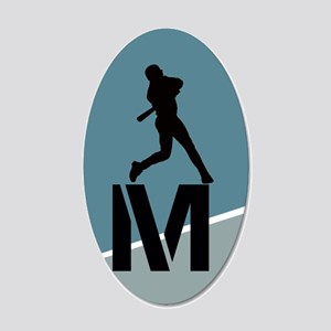 Cool Baseball Monogram 20x12 Oval Wall Decal