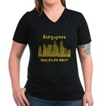 Singapore Women's V-Neck Dark T-Shirt