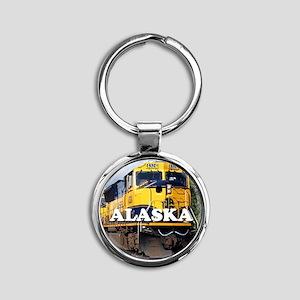 Alaska Railroad Round Keychain