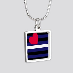 Leather Pride Flag Silver Square Necklace