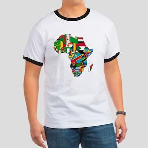 Flag Map of Africa Ringer T