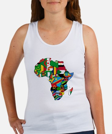 Flag Map of Africa Women's Tank Top
