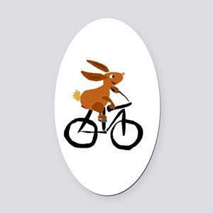 Funny Rabbit on Bicycle Oval Car Magnet