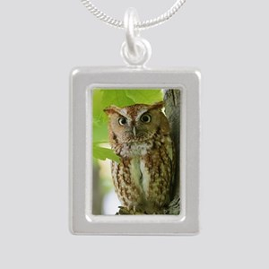 Red Sreech Owl Silver Portrait Necklace
