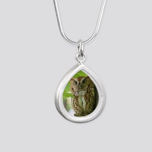 Red Sreech Owl Silver Teardrop Necklace