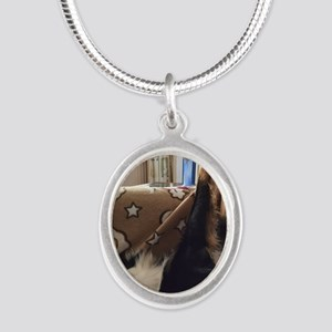 Crisp Silver Oval Necklace