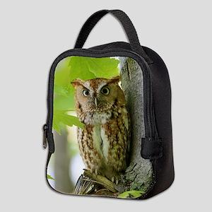 Red Sreech Owl Neoprene Lunch Bag