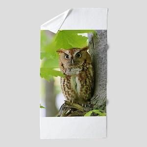 Red Sreech Owl Beach Towel