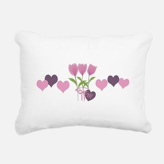 Pink Tulip Monogram Rectangular Canvas Pillow