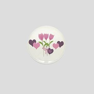 Pink Tulip Monogram Mini Button