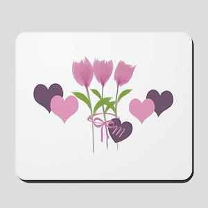 Pink Tulip Monogram Mousepad