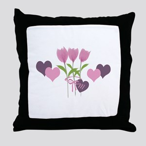 Pink Tulip Monogram Throw Pillow