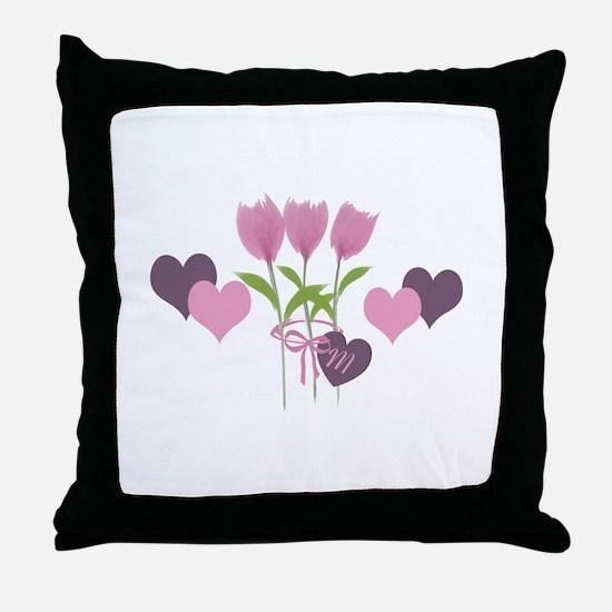 Pink Tulip Monogram Throw Pillow