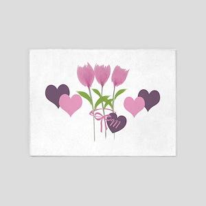 Pink Tulip Monogram 5'x7'Area Rug