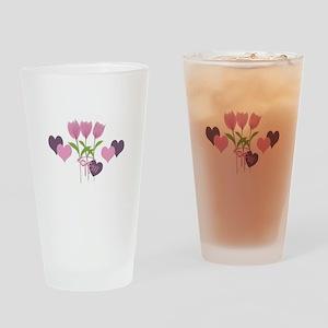 Pink Tulip Monogram Drinking Glass