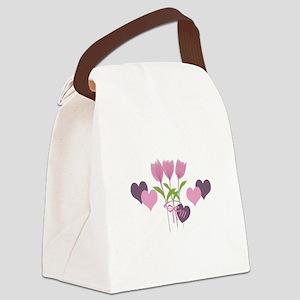Pink Tulip Monogram Canvas Lunch Bag